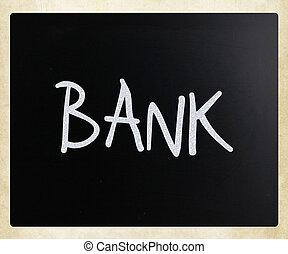 "palavra, quadro-negro, giz, ""bank"", branca, manuscrito"
