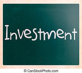 palavra, quadro-negro, giz, 'investment', branca, manuscrito