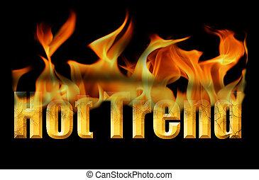 palavra, quentes, tendência, em, fogo, texto