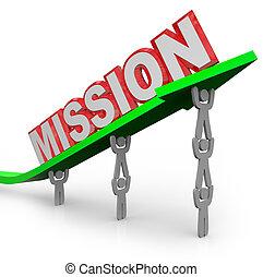 palavra, realizado, missão, trabalho, seta, equipe, levantamento