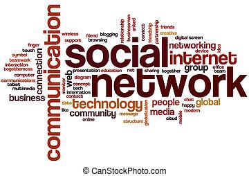 palavra, rede, nuvem, social