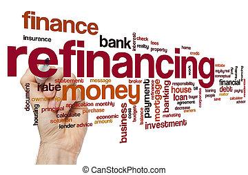 palavra, refinancing, nuvem