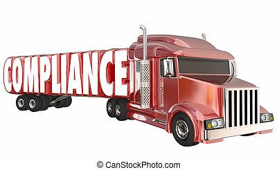 palavra, regras, conformidade, ilustração, trucking, regulamentos, leis, 3d