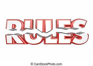 palavra, regras, ilegal, quebrar, ilustração, rachar, leis,...