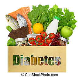 palavra, saudável, saco, alimentos, papel, enchido, diabetes