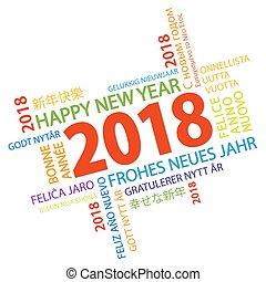palavra, saudações, ano, novo, nuvem, 2018