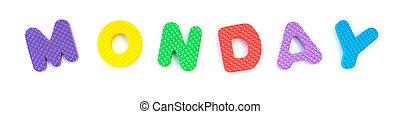 palavra, segunda-feira, dado forma, alfabeto, quebra-cabeça, jigsaw, branca