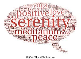 palavra, serenidade, nuvem