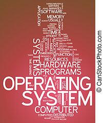 palavra, sistema operacional, nuvem