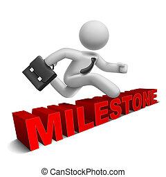 palavra, sobre, 'milestone', pular, homem negócios, 3d