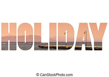 palavra, sobre, pôr do sol, paraisos , greece., feriado