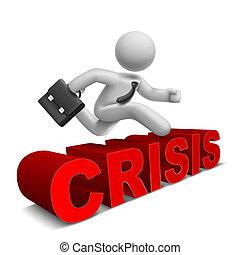 palavra, sobre, pular, homem negócios, 3d, 'crisis'