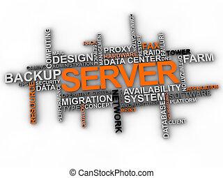 palavra, sobre, servidor, fundo, nuvem branca