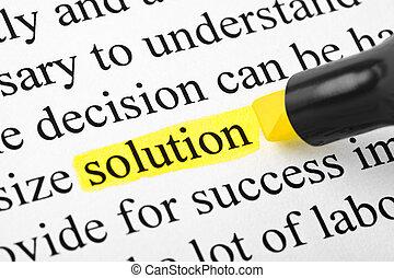 palavra, solução, highlighter