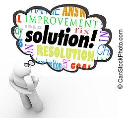 palavra, solução, pensamento, resolvido, pensador, problema, bolha