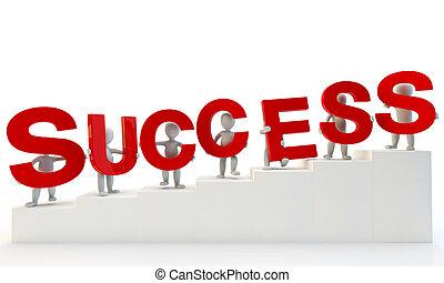 palavra, sucesso, formando, humanos, vermelho, 3d