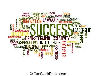 palavra, sucesso, nuvem