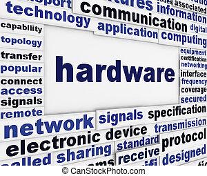 palavra, técnico, cartaz, hardware, desenho, nuvens