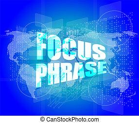 palavra, tela, foco, sistema, digital, toque, frase