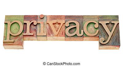palavra, tipo, letterpress, privacidade