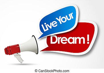 palavra, trabalho, viver, megafone, sonho, seu