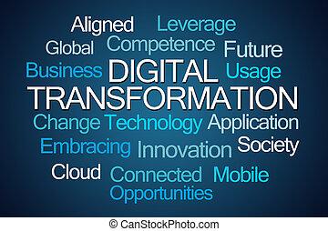 palavra, transformação, nuvem, digital