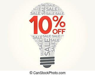 palavra, venda, 10%, bulbo, desligado, nuvem
