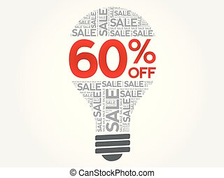palavra, venda, 60%, bulbo, desligado, nuvem