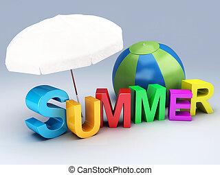 palavra, verão, com, colorido, letra, 3d, ilustração