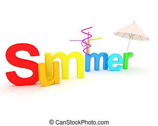 palavra, verão, com, colorido, letras
