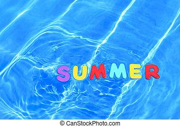 palavra, verão, flutuante, em, um, piscina