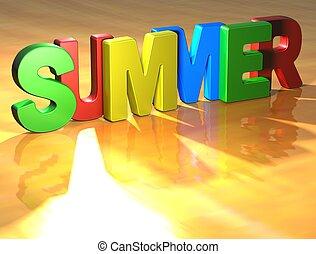 palavra, verão, ligado, fundo amarelo
