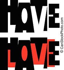 palavra, vetorial, amor, ódio
