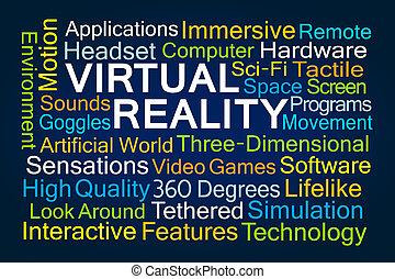 palavra, virtual, nuvem, realidade