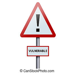 palavra, vulnerável, sinal estrada