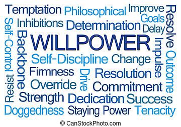 palavra, willpower, nuvem