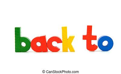 """palavras, """"back, to"""", em, madeira, letras"""