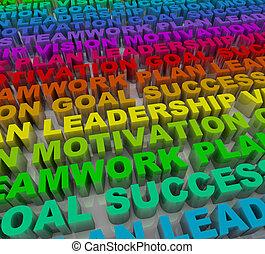 palavras, -, coloridos, sucesso, princípios