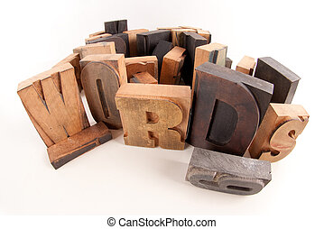 palavras, em, madeira