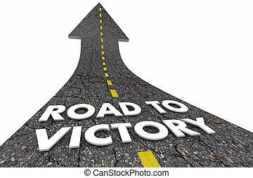 palavras, ilustração, ganhar, vitória, seta, estrada, 3d