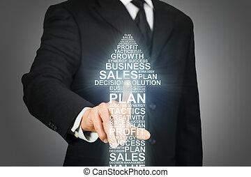 palavras, negócio, clicando, formado, relatado, seta, homem negócios