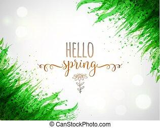 palavras, primavera, folhas, tipografia, olá, glowing, experiência verde, branca, capim, composição