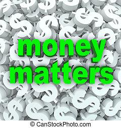 palavras, questões, dinheiro, sinal dólar, moeda corrente, fundo
