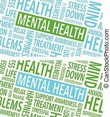 palavras, saúde, mental, fundo