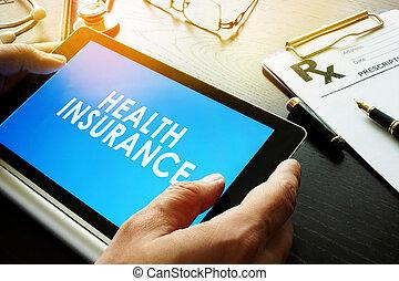palavras, seguro saúde, ligado, um, tela, de, tablet.