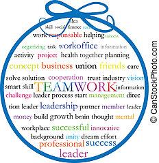 palavras, trabalho equipe, significado, logotipo