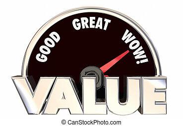 palavras, velocímetro, compra, valor, topo, bom, alto, compra, melhor, 3d