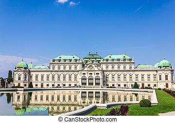 palazzo belvedere, piena vista, vienna, niente persone