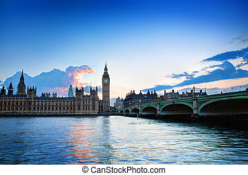 palazzo, ben grande, westminster, uk., tramonto, londra