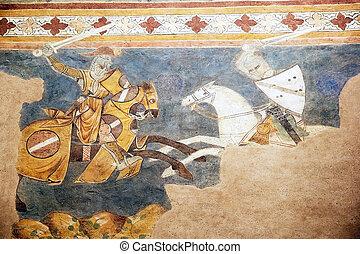 Palazzo Comunale, San Gimignano, Tuscany, Italy - Fresco at...